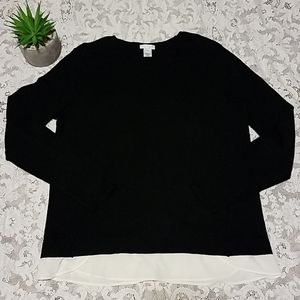 J. Jill Sweater Black Back Button Shirt S
